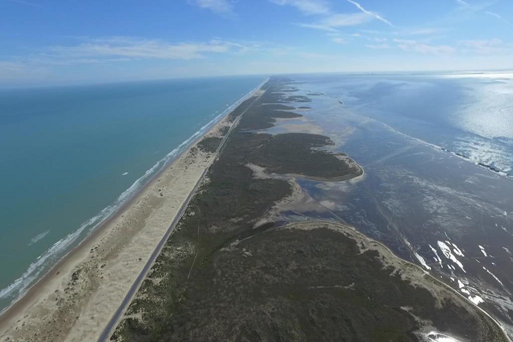 Airplane View of South Padre Island's remote north end; CQ Integrative Health & Wellness Center Visiting Patients